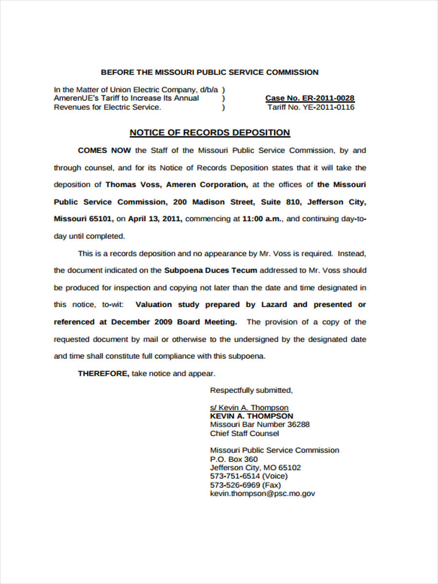 notice of application federal court
