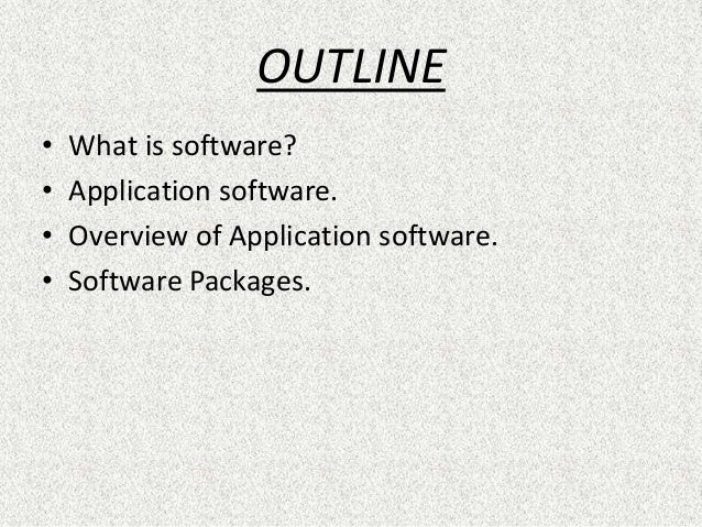 types of computer applications packages